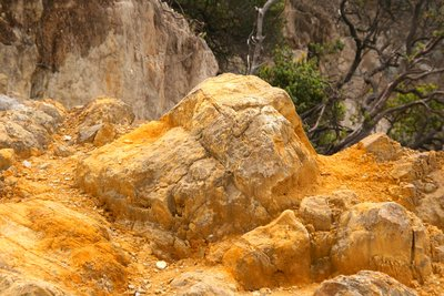 Sulphurous rocks at Tangkuban Perahu