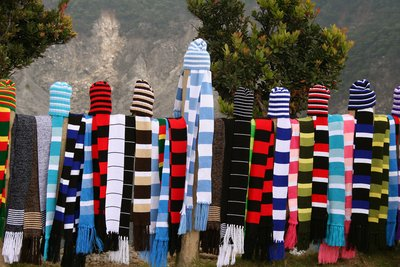 Hats and scarves at Tangkuban Perahu
