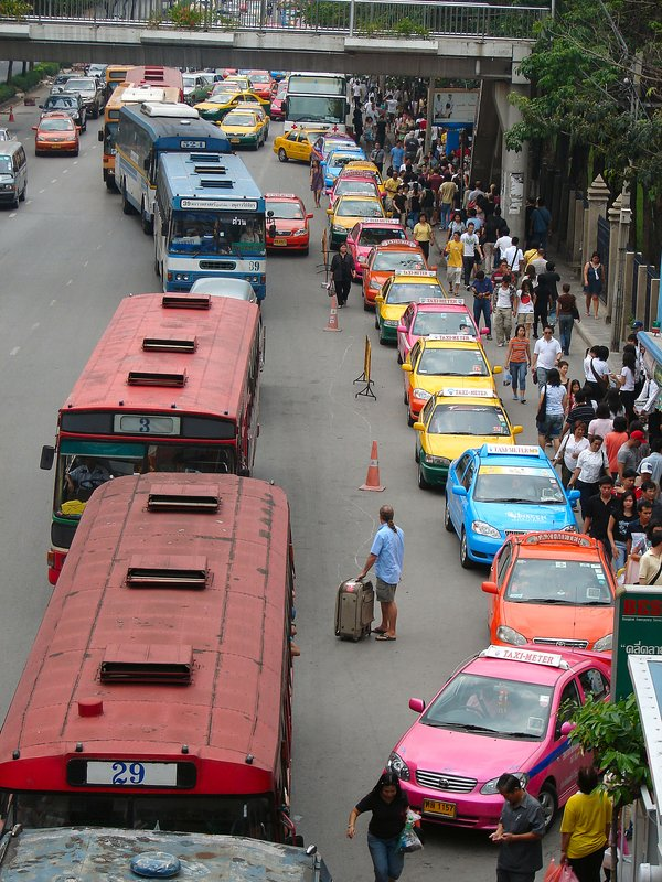 Multicoloured traffic jam outside Chatuchak Park