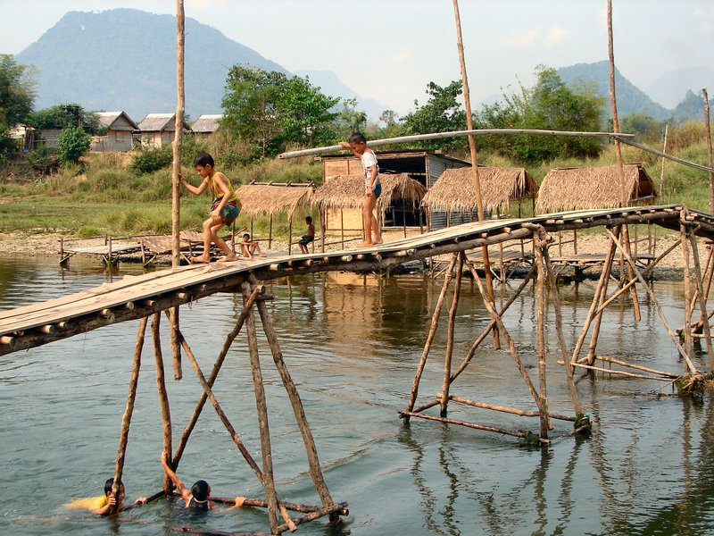 Bamboo bridge in Vang Vieng