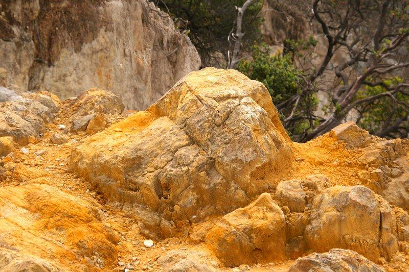 Sulphurous rocks at Tangkuban Perahu