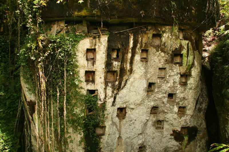 Graves carved into a cliff