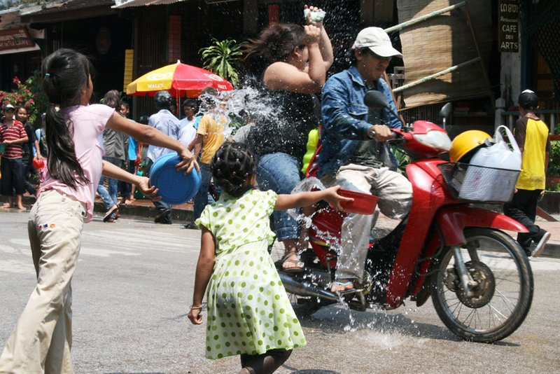 Songkran soaking in Luang Prabang