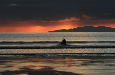 Orewa Beach Sunrise - Kayaker