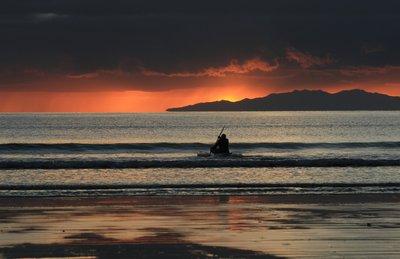 Orewa Beach Sunrise - Kayaker