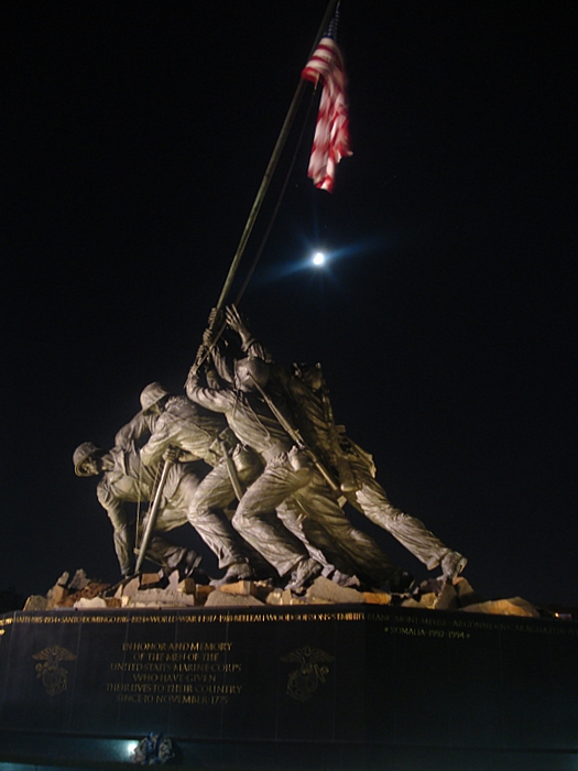 Iwo Jima Memorial at night