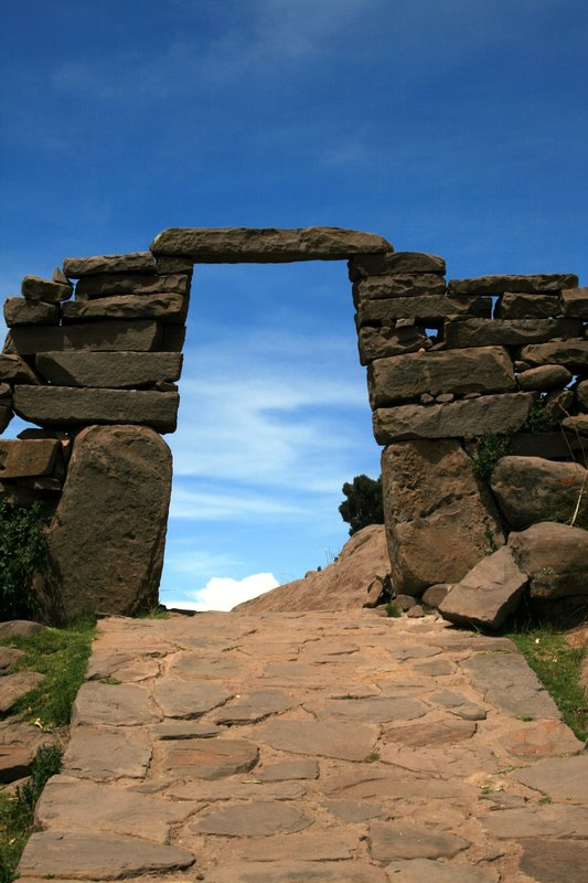 Gateway on Taquile Island, Lake Titicaca, Peru