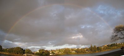 panoramic rainbow over raglan