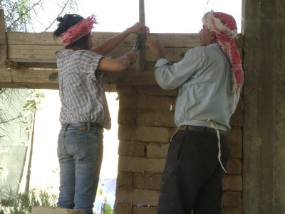 Building the mud brick wall