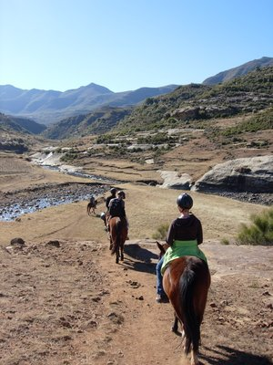 through the rocks on pony back