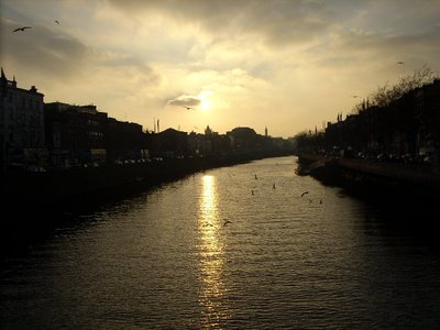 sunset over River Liffey, Dublin