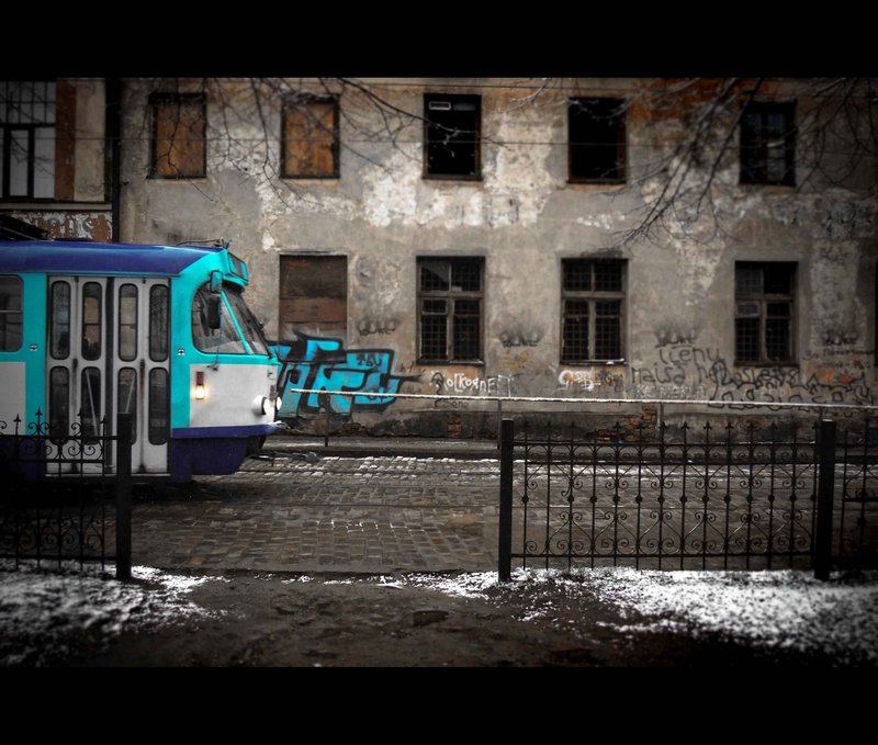 Tram in slums