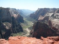The view down Zion canyon