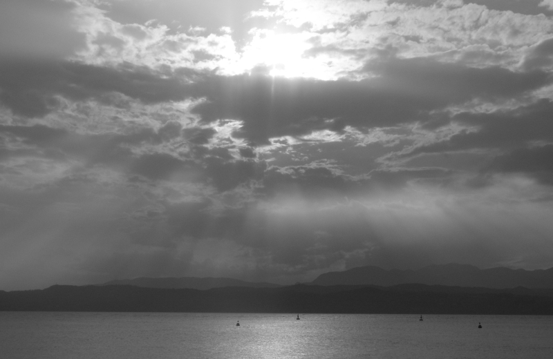 Sunset over Lake Garda Black and White