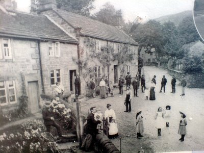 old photo of village life before building of reservoir