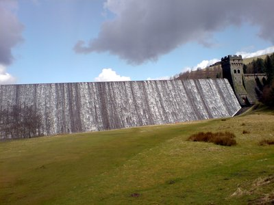 an overflowing derwent dam