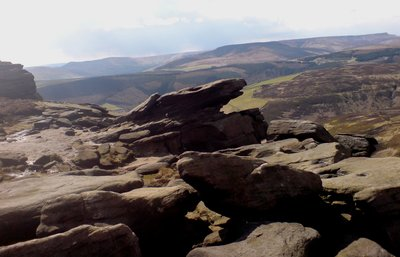 view across ridge towards hope edale and kinder scout