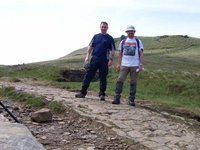 pete and me getting towards top of jacobs ladder (knacked despite smiles)