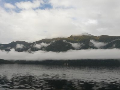 Doubtfull Sound - Calm waters and low cloud