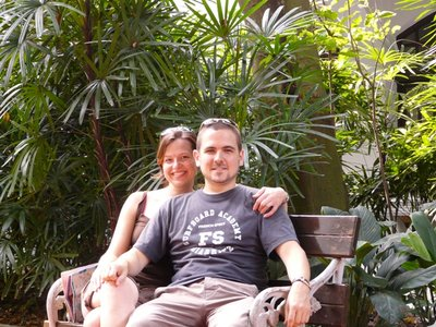 Relaxing in the Raffles hotel gardens