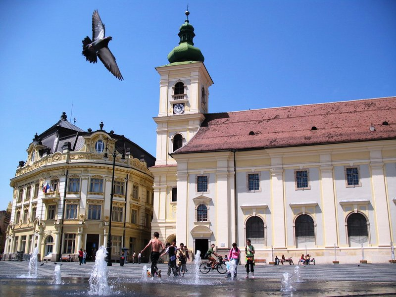 Sibiu - City Hall & Catholic Church