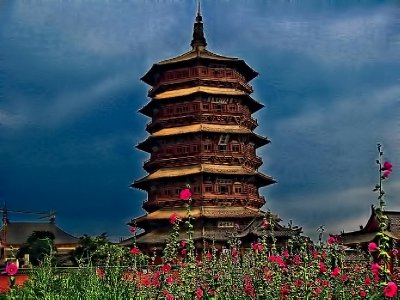 View of the pagoda among the flowers