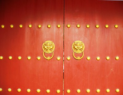 Double Red Door Knockers - I could not resist a photo