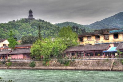Pagoda Above The River In HDR
