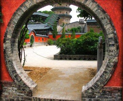 Oval Door into a garden