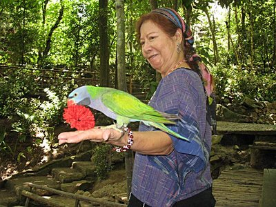 Yun Sunee with parrot