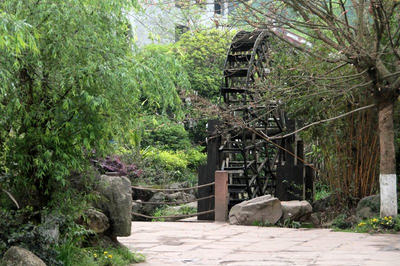 A working waterwheel near the entrance to the ancient town