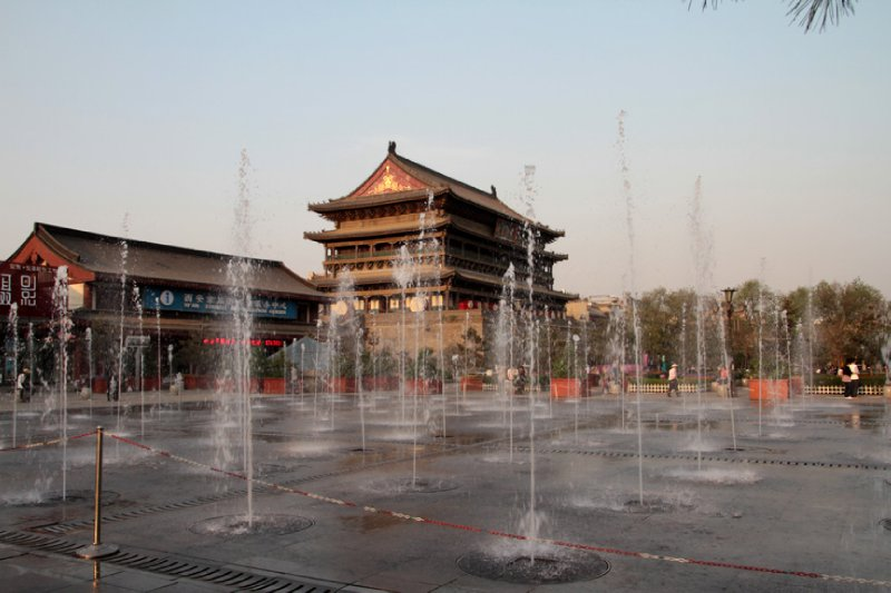 The famous Xian Drumtower identifying the Muslim Quarter