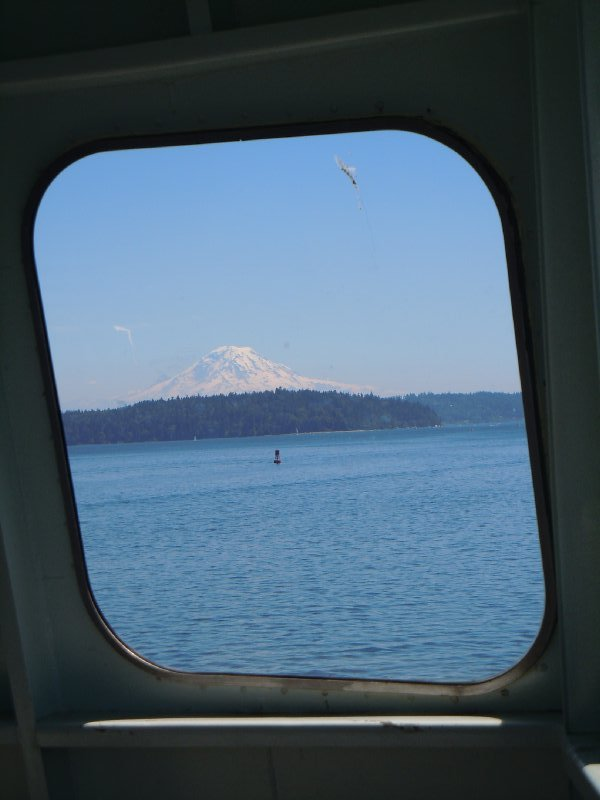 Mt. Rainier seen through ferry window