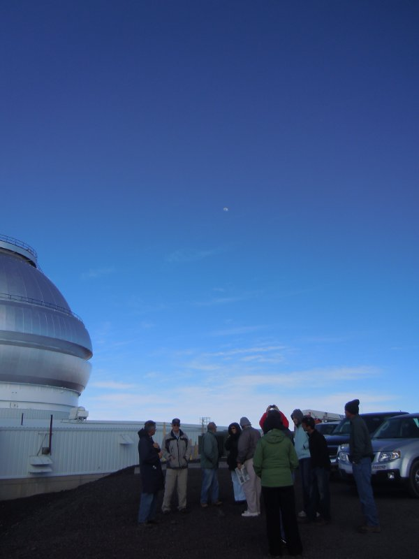 Moon over observatory
