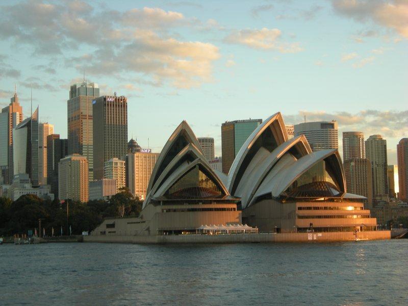 Sydney Opera House & skyline at sunset