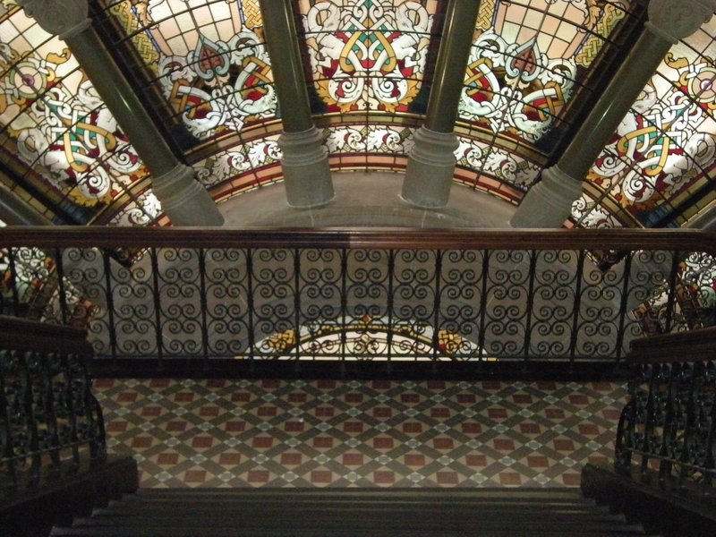 QVB Stairwell, with stained glass window