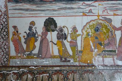 India - Orchha - Raja Mahal fresco