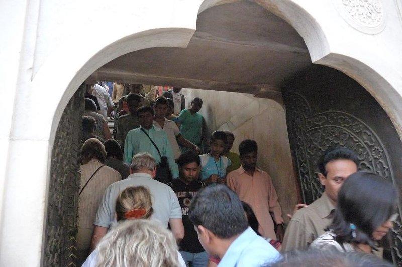 India - Agra - Taj Mahal crowds on the stairs