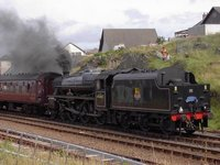 Steam train leaving Mallaig for Fort William