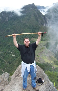 Scott high above Machu Picchu