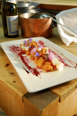 Auberge des Peupliers salade de betteraves jaunes auberge des peupliers 1