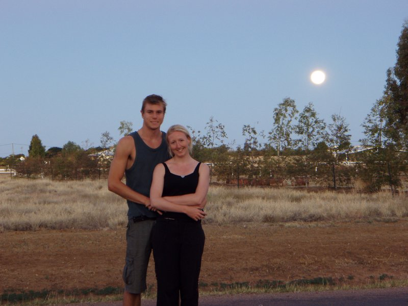Us in the outback at full moon, Longreach