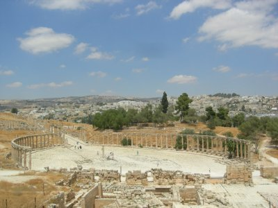 Jarash: over view of oval plaza