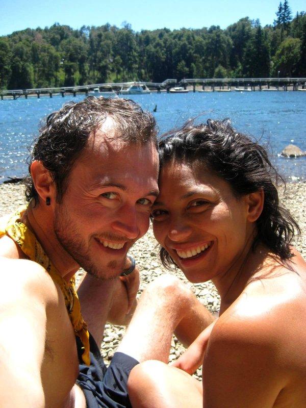 V.La Angostura: us at beach
