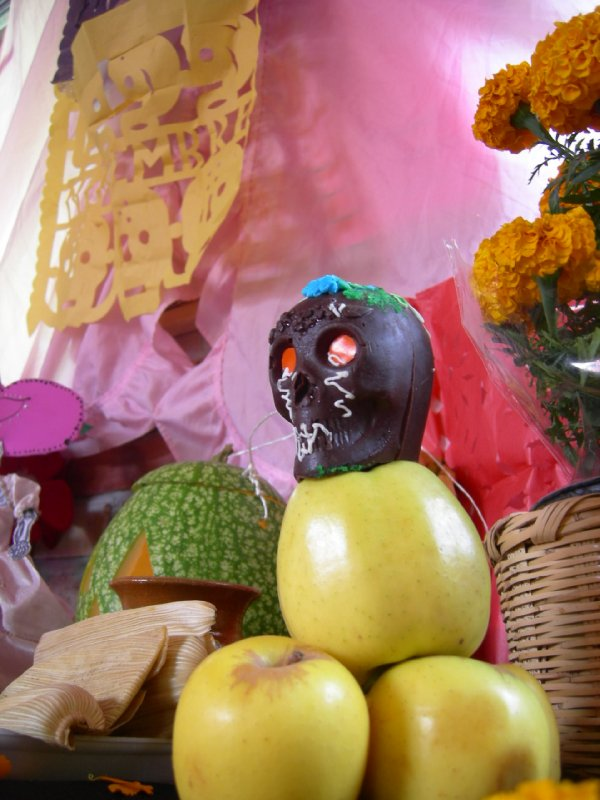 day of the dead: apples and skull