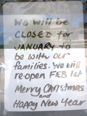 cafe closed for holidays