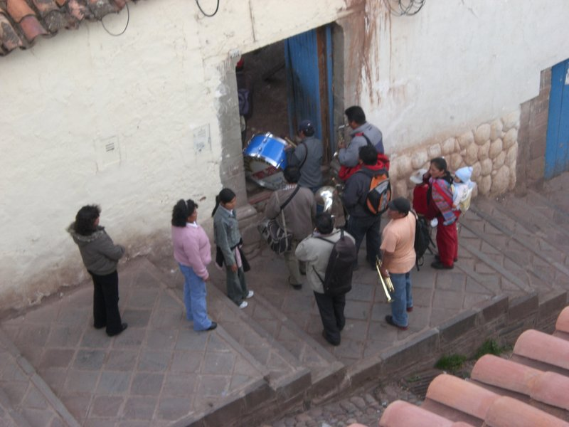random street party in cusco