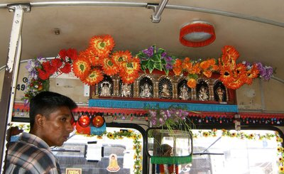 Sri Lankan Bus Decorated for Hindu Deepawali Festival of Lights