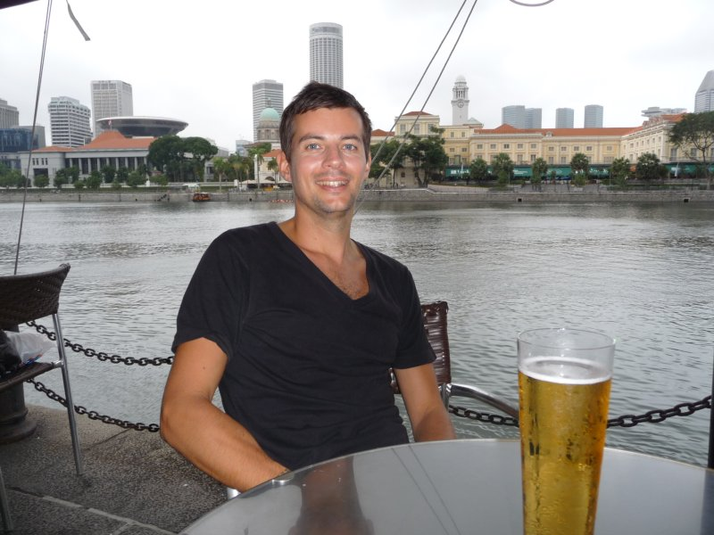 nathan drinks on harbourfront, Singapore
