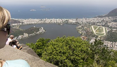 View from Christ the Redeemer of Ipanema and Copacabana Beaches